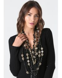 Bebe Black & Gold Bead Necklace