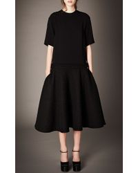Rochas - Black Mixed Wool Boucle Dress - Lyst