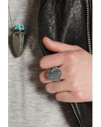 Harlot & Bones - Gray Shield Poison Rhodium-Plated Marcasite Ring - Lyst
