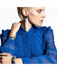 Alexis Bittar Blue Dangling Lucite Geometric Clip Earring With Custom Baguette