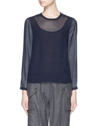 J.Crew Blue Collection Sheer Sleeve Top