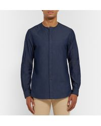 Façonnable - Blue Denim Henley Shirt for Men - Lyst