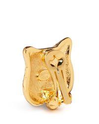 Kenneth Jay Lane Multicolor Crystal Pavé Tiger Clip Earrings