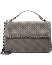 Bottega Veneta - Gray Intrecciato Olimpia Large Shoulder Bag - Lyst