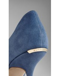 Burberry - Blue Point-Toe Suede Pumps - Lyst