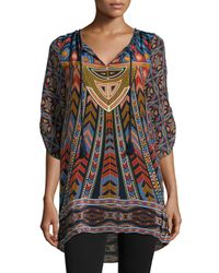 Tolani - Multicolor Nima Silk Printed Long Tunic - Lyst