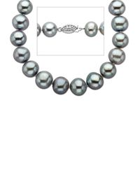 Lord & Taylor | Metallic Grey Pearl Strand Necklace In Sterling Silver 18 Inches 11mm | Lyst