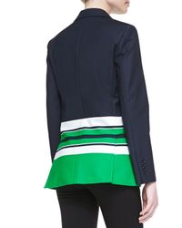 Michael Kors   Blue 3button Striped Stretchcotton Jacket   Lyst