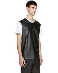Neil Barrett - White & Black Leather Effect T-shirt for Men - Lyst