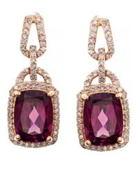 Effy | Pink Rhodolite, Diamond And 14K Rose Gold Drop Earrings | Lyst