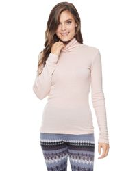Splendid | Pink Slim Turtleneck Tee | Lyst
