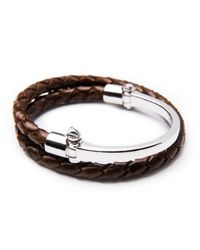 Miansai | Brown Half-cuff With Woven Bracelet for Men | Lyst