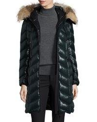 Moncler Black Bellette Fur-trim Puffer Coat
