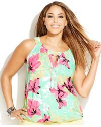 INC International Concepts   Green Plus Size Printed Embellished Keyhole Top   Lyst