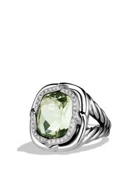 David Yurman Metallic Labyrinth Ring With Prasiolite And Diamonds