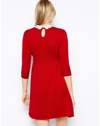 ASOS Red Knitted Skater Dress With Lace Collar