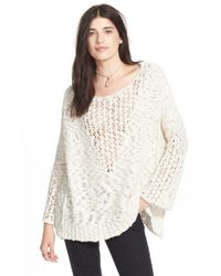 Free People | White 'pretty Pointelle' Cotton Sweater | Lyst
