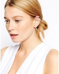 ASOS - Metallic Singles Faux Pearl Cuff & Swing Earrings - Lyst