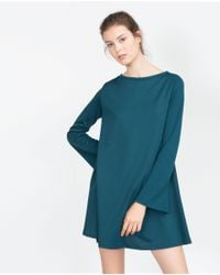 Zara | Blue Dress With Bell Sleeves | Lyst