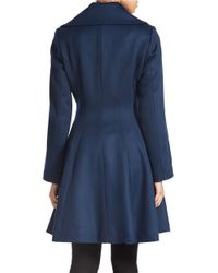 Trina Turk | Blue Belted Flared Coat | Lyst