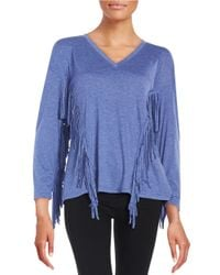 Lord & Taylor | Blue Fringe-trimmed Top | Lyst