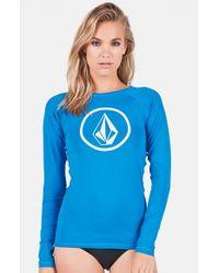 Volcom - Blue 'simply Solid' Rashguard - Lyst