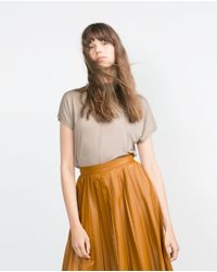 Zara | Natural High Neck T-shirt | Lyst