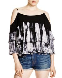 Young Fabulous & Broke - Black Gia Printed Cold-shoulder Top - Lyst