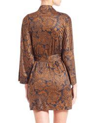 Hanro - Brown Mona Lisa Kimono Short Robe - Lyst