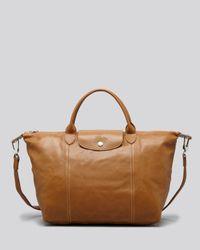 Longchamp Blue Le Pliage Medium Leather Satchel