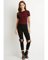 Forever 21 - Purple Ribbed Knit Ringer Tee - Lyst