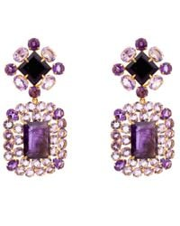 Bounkit | Purple Amethyst Drop Statement Earrings | Lyst