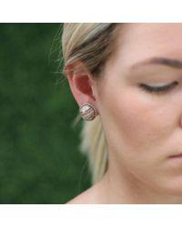Pamela Huizenga | Metallic Saturn Chalcedony Stud Earrings | Lyst