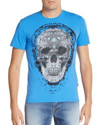 Just Cavalli | Blue Skull Graphic Stretch-cotton Tee for Men | Lyst