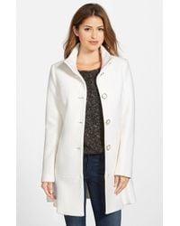 Kensie White Single Breasted Ruffle Hem Coat
