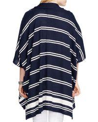 Lauren by Ralph Lauren Blue Plus Mandolie Poncho Sweater