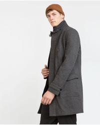 Zara | Gray Diagonal Coat for Men | Lyst