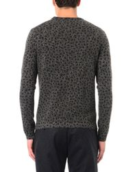 Gucci Gray Animal-Print Wool And Cashmere Sweater for men