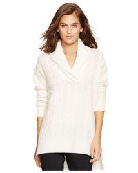 Polo Ralph Lauren - Natural Merino Wool-cashmere Shawl-collar Sweater - Lyst