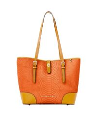 Dooney & Bourke | Orange Claremont Python Dover Tote Bag | Lyst