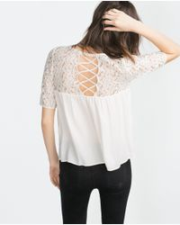 Zara | White Guipure Lace Blouse | Lyst