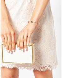 Ted Baker | Metallic Crystal Double Daisy Ultra Fine Cuff Bracelet | Lyst