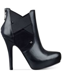 G by Guess | Black Gregor Platform Booties | Lyst