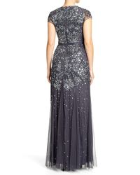 Adrianna Papell Metallic Short-Sleeve Beaded Ombre Gown