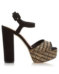 Dune Black Inga Raffia Platform Block Heel Sandal