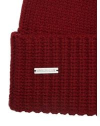 DSquared² Red Rib Knit Wool Hat for men