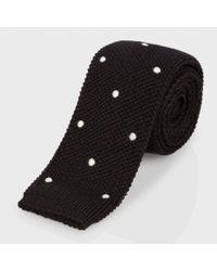 Paul Smith Men's Black Polka Dot Wool Knitted Tie for men