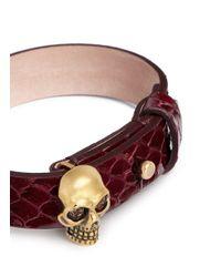 Alexander McQueen | Red Skull Snakeskin Bracelet | Lyst