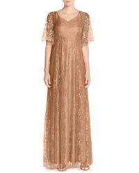 Donna Morgan Natural 'madeline' V-neck Lace A-line Gown