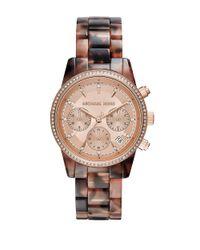 Michael Kors | Brown Ritz Blush-tortoise Acetate Bracelet Chronograph for Men | Lyst
